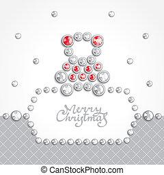 Christmas teddy bear - Christmas card decorated with...