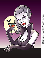 Vamp - Halloween postcard with vampire drinking bloody mary