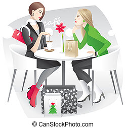 Christmas shopping - Two young women resting in the cafe and...