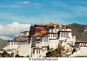Landmarks of the Potala Palace in Lhasa Tibet - Landscape of...