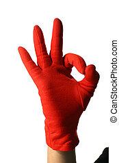 okay - red hand show okay sign