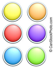 3d render of 6 round rainbow colored buttons