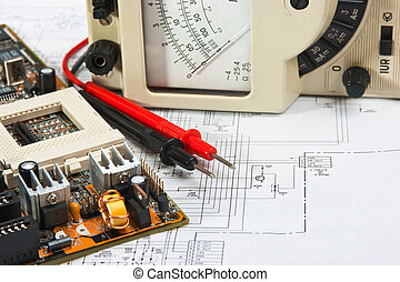 Old multimeter on the wiring diagram
