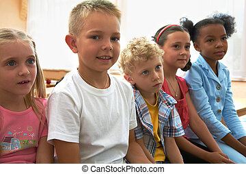 Classmates at lesson - Portrait of several kids during...