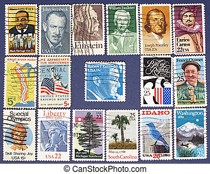 Postage stamps - Set of USA postage stamps Background