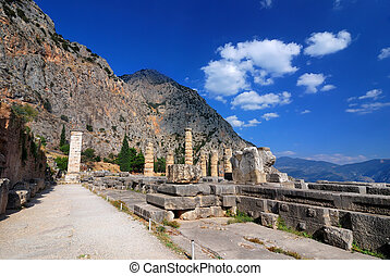 Apollo Temple, Delphi ancient site, Greece - Site of Delphi...
