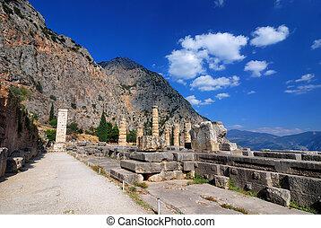 Apollo Temple, Delphi ancient site, Greece - Site of Delphi...