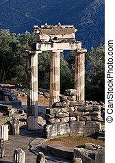 Athena Pronaia Sanctuary at Delphi, Greece - The Tholos at...