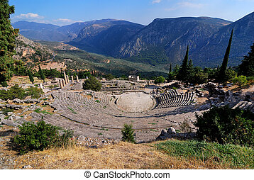 The theatre from Delphi, Greece landmark - The theatre from...