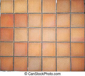 Terracotta floor tiles - Floor in terracotta square tiles.