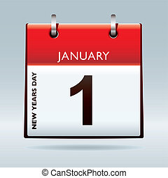 New years eve calendar - New years day date on calendar with...