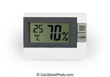 Digital thermo hygrometer. Isolated on white background with...