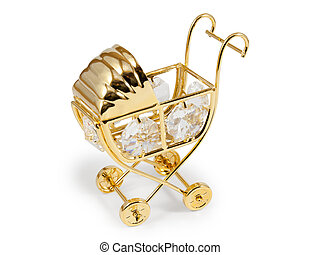 Golden stroller with crystals Isolated on white background...