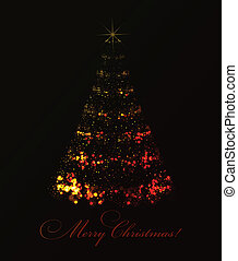 Abstract christmas tree on black background. Vector eps10...