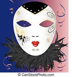 venetian mask - in pink-blue background, white Venetian mask...