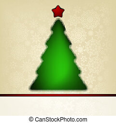 ?hristmas card template with halftone tree. EPS 8