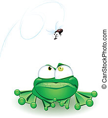 Frog with flie. Vector illustration on white background