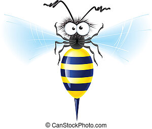 Cheerful bee Vector illustration on white background