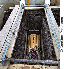caixão, abertos, sepultura
