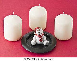 velas, pelúcia, urso, estatueta