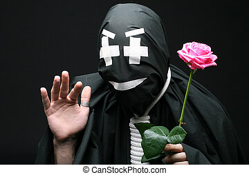 hello - dead man say hello with pink rose