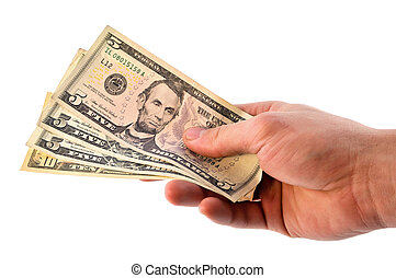 Dollars in hand - The man stretches out to someone dollar...