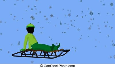 African American Boy On A Sled