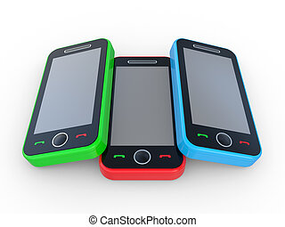 Multi-coloured 3D mobile phones on a white background