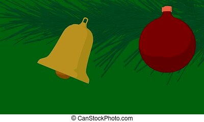 Jingle Bells - Christmas ornament and christmas bell on a...