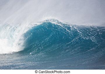 Ocean Wave - Huge breaking wave with a nice tube.