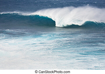 Ocean Wave - Huge breaking wave with a nice tube