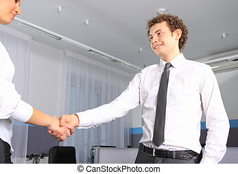 Business man shaking hands with a woman in the office