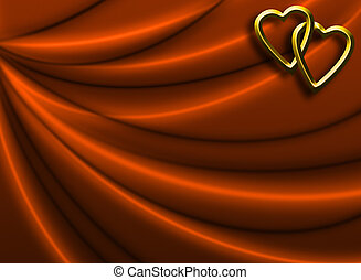 Valentine Day Background - Golden Hearts on Silky Drapery...