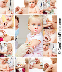 Little girl gets an injection - Doctor giving a child an...