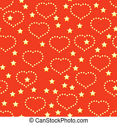 Background with golden hearts and stars - Valentines day red...