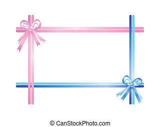 Pink and blue ribbons isolated on a white background Vector...