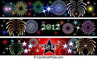 New Year Firework Banners - Vector Illustration for the New...