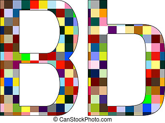 Font Set 1 Letter B Isolated on White