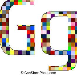 Font Set 1 Letter G Isolated on White