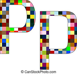Font Set 1 Letter P Isolated on White