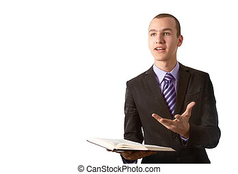 Young man preach the Gospel in front of a white background