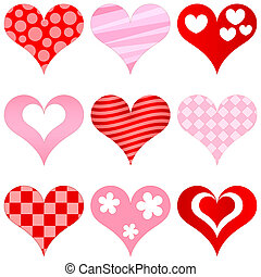 hearts set for wedding and valentine design