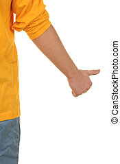 Hand with lifted thumb on white background