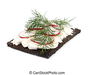 Tasty sandwich on white background.