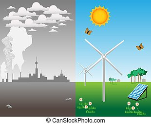 Renewable energy - Illustration about the advantage of...
