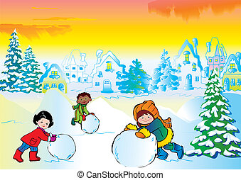 Children - Winter story Vector art-illustration Happy...