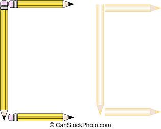 Pencils and Colored Pencils Font Set Letter C