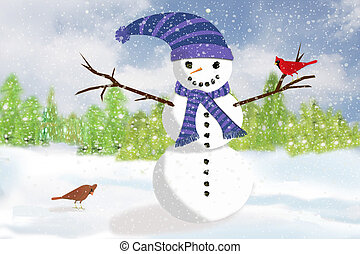 The Snowman and the Cardinals - A Snowman standing in the...