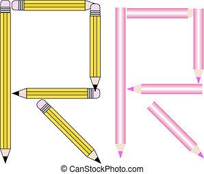 Pencils and Colored Pencils Font Set Letter R