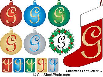 Christmas Font Letter G